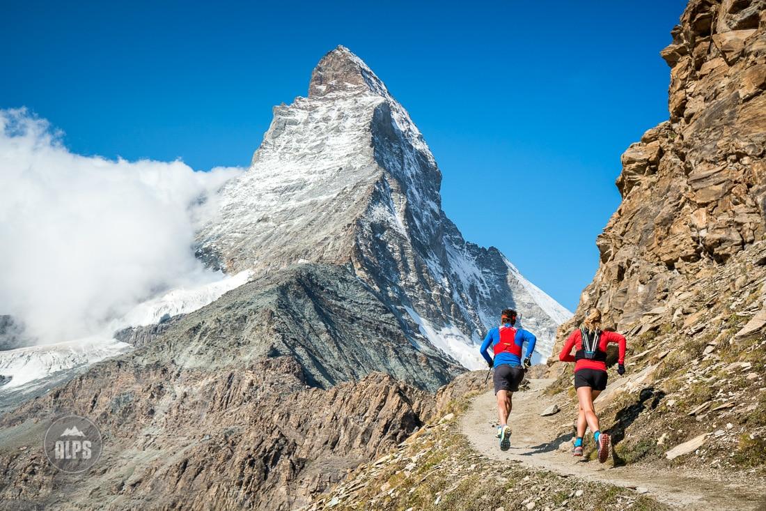 Trail running beneath the Matterhorn
