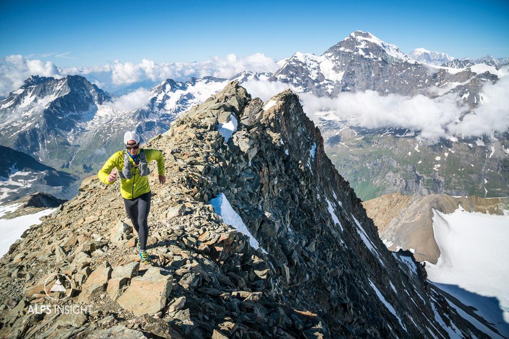 Running and climbing La Ruinette, Swiss Alps