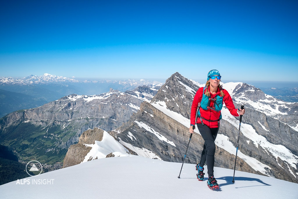 A trail runner on the Zackengrat, a ridge serving as the normal route on the Balmhorn, 3698 meters, which is an easy alpine peak that is possible to do in running shoes when conditions are right. Kandersteg, Switzerland.