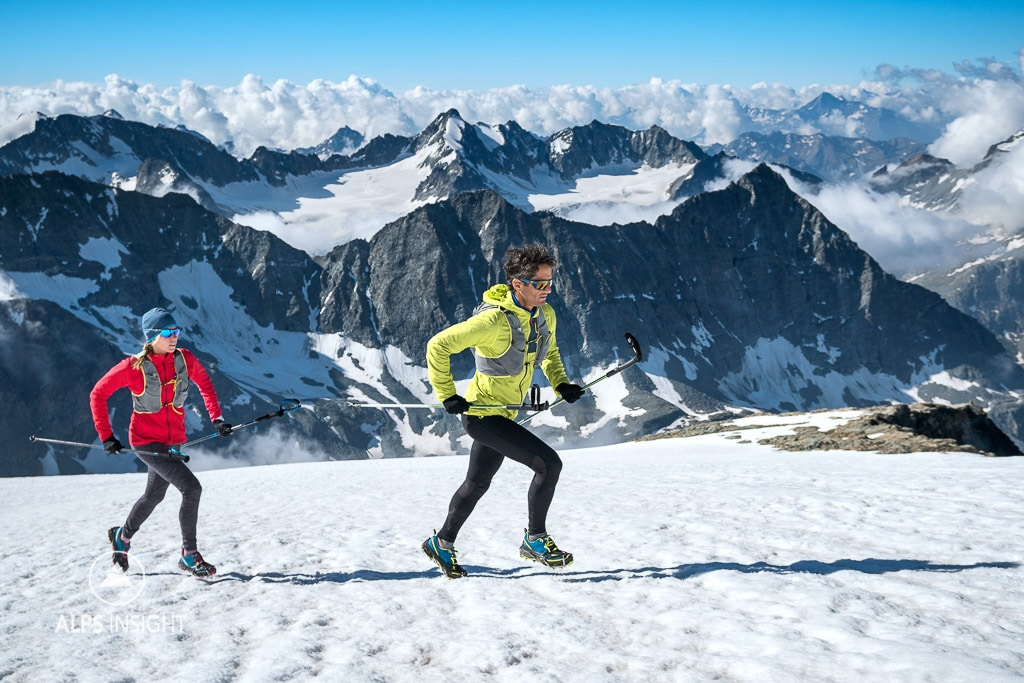 Running and climbing La Ruinette, Swiss Alps