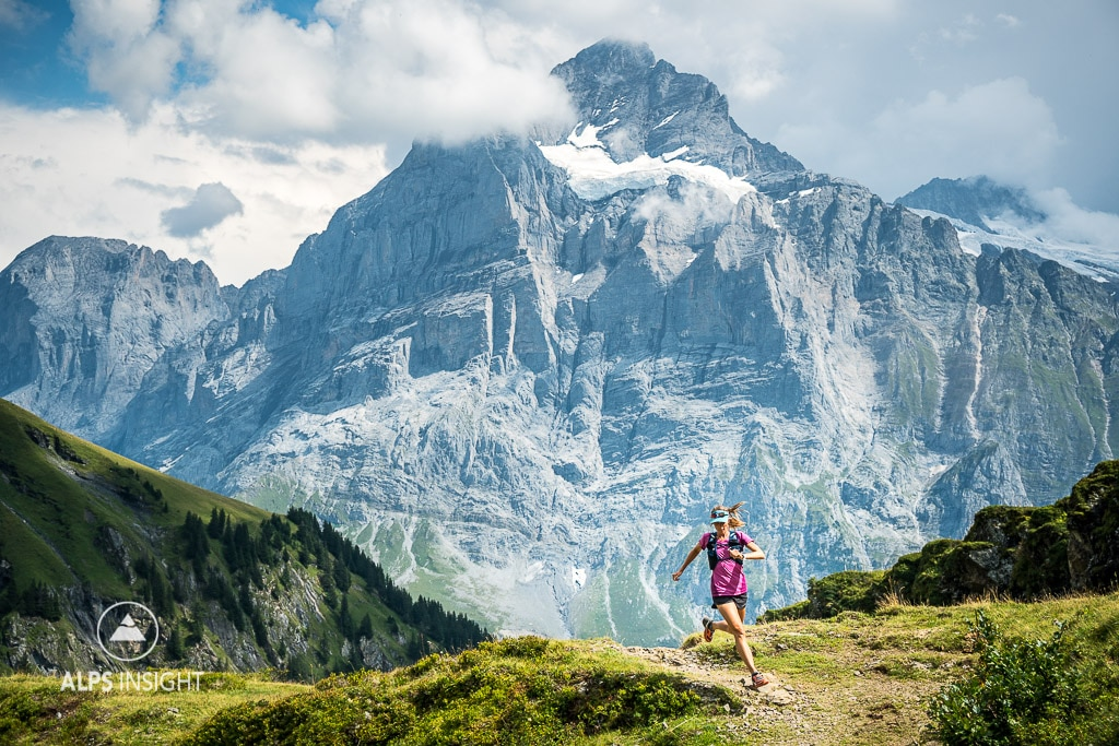 Trail running on a loop above Grindelwald, Switzerland with the Wetterhorn in the background.